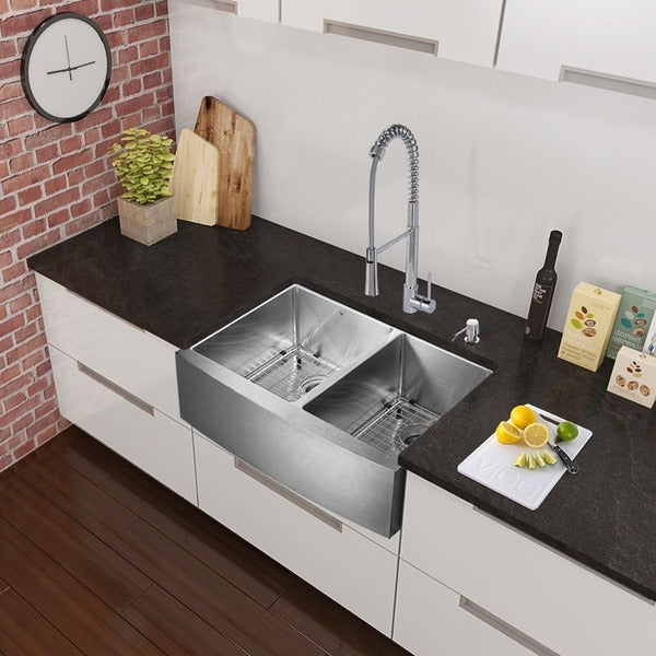 vigo all in one 33 u201d bingham stainless steel double bowl farmhouse kitchen sink vigo all in one 33 u201d bingham stainless steel double bowl farmhouse      rh   overstock com