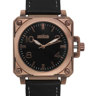 Leonidus Men's Erebus Black Leather Rosetone Ion-plated Metal Square Watch