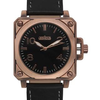 Leonidus Men's Erebus Black Leather Rosetone Ion-plated Metal Square Watch