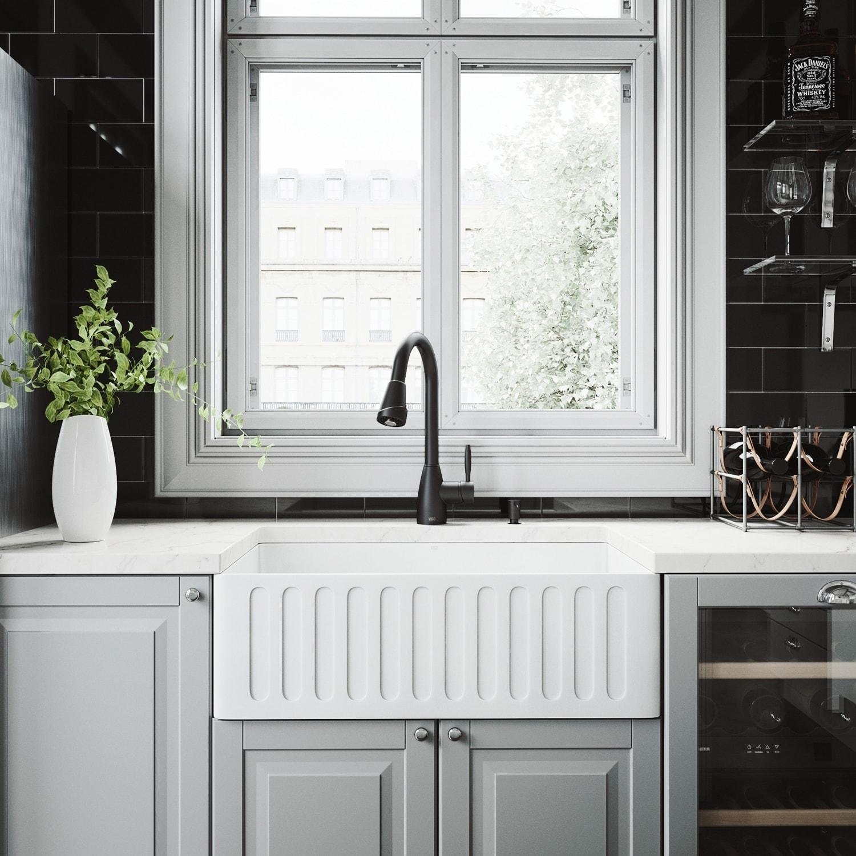 Vigo Matte Stone Kitchen Sink And Graham Matte Black Faucet Set Overstock 11452508
