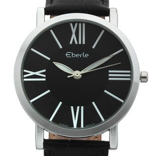 Eberle Men's Renzo Black Genuine Croc Grain Leather Watch