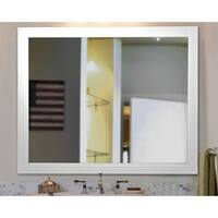 American Made Rayne White Satin Wide Vanity Wall Mirror