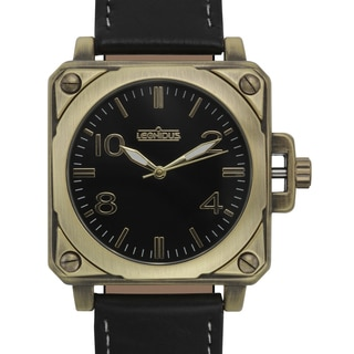 Leonidus Men's Erebus Black Leather Goldtone Ion-plated Metal Square Watch