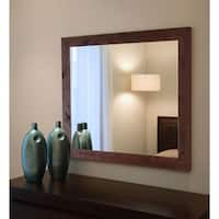 American Made Rayne Rustic Dark Walnut Vanity Wall Mirror - Dark Walnut