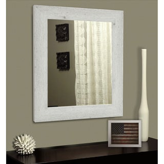 American Made Rayne White Washed Antique Vanity Wall Mirror