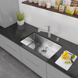 VIGO All-in-One 32-inch Stainless Steel Undermount Kitchen Sink and Branson Stainless Steel Faucet Set