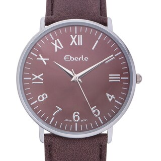 Eberle Men's Eiffel Watch with Dark Brown Leather Strap
