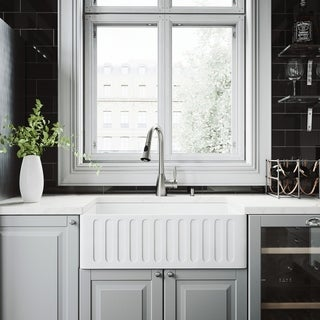 """VIGO All-In-One 30"""" Matte Stone Farmhouse Kitchen Sink Set With Aylesbury Faucet In Stainless Steel"""