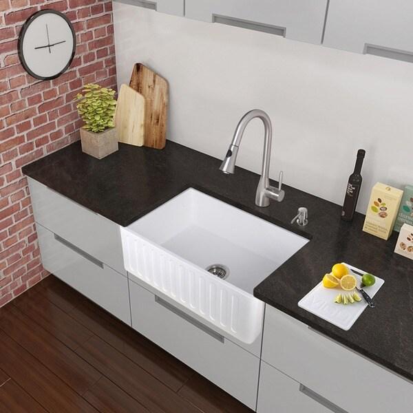 vigo all-in-one 30-inch matte stone farmhouse kitchen sink and