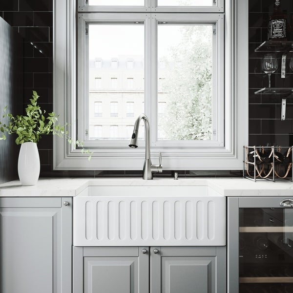 VIGO Matte Stone Kitchen Sink and Aylesbury Stainless Steel Faucet Set