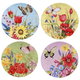 "Certified International Floral Bouquet 8.5"" Dessert Plates (Set of 4) Assorted Designs"