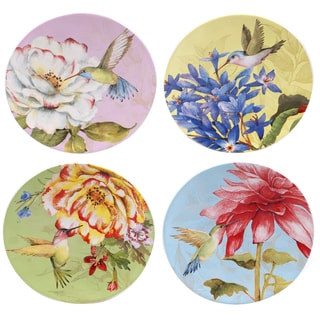 """Certified International Floral Bouquet 6"""" Canape Plates (Set of 4) Assorted Designs"""