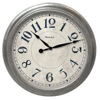 Westclox 15.5-inch Round Decorative Galvanized Finish Wall Clock
