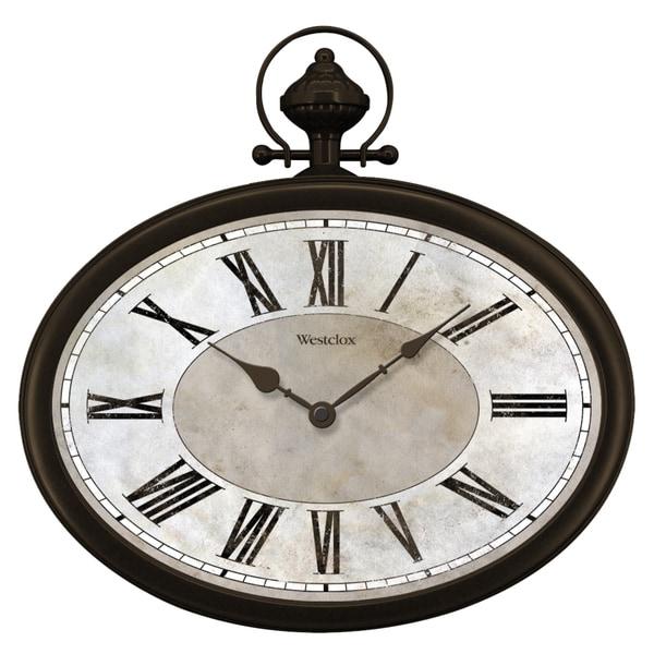 "Westclox 15.5"" Oval Distressed Dial Pocket Watch"