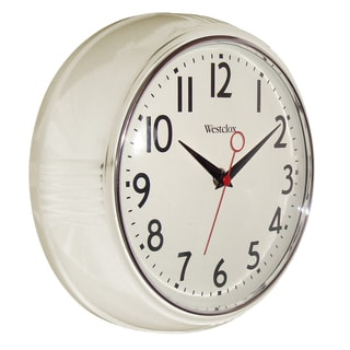 "Westclox 9.5"" White Retro Wall Clock"