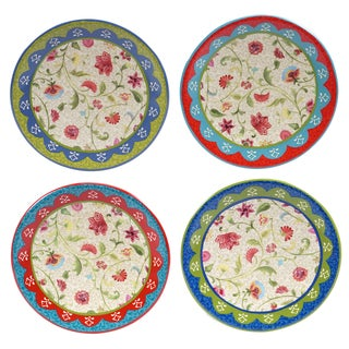 """Certified International Anabelle 6"""" Canape Plates (Set of 4) Assorted Designs"""
