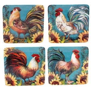 "Certified International Sunflower Rooster 8.5"" Salad/Dessert Plates (Set of 4) Assorted Designs"