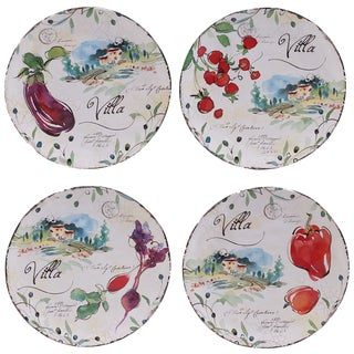 "Certified International Villa 8.75"" Salad/Dessert Plates (Set of 4) Assorted Designs"