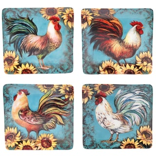 "Certified International Sunflower Rooster 10.5"" Dinner Plates (Set of 4) Assorted Designs"