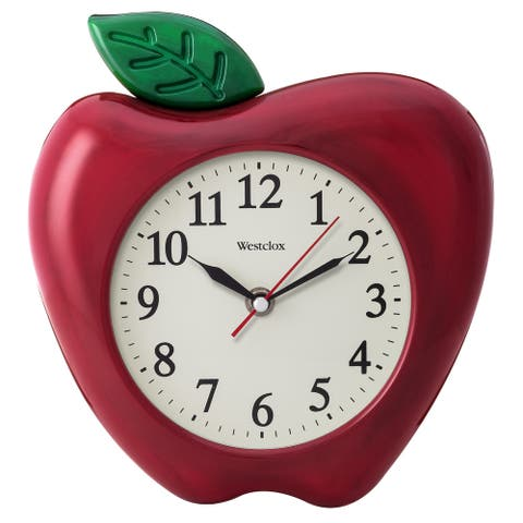 "Westclox 10"" 3D Apple Wall Clock"