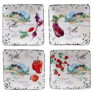 "Certified International Villa 6"" Canape Plates (Set of 4) Assorted Designs"