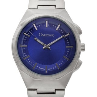 Chaumont Men's Farinelli Stainless Steel Ion-plated Link and Textured Blue Dial Ring Watch