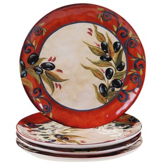 Certified International Umbria 10.75  Dinner Plates (Set ...  sc 1 st  Overstock : black ceramic plates - pezcame.com