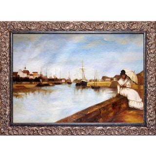 Berthe Morisot 'The Harbor at Lorient' Hand Painted Framed Canvas Art