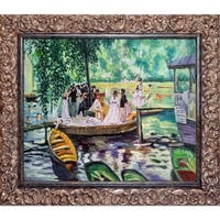 Pierre-Auguste Renoir 'La Grenouillere' (The Frog Pond) Hand Painted Framed Canvas Art
