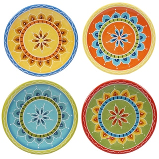 "Certified International Valencia 6"" Canape Plates (Set of 4) Assorted Designs"