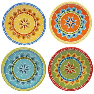"""Certified International Valencia 6"""" Canape Plates (Set of 4) Assorted Designs"""