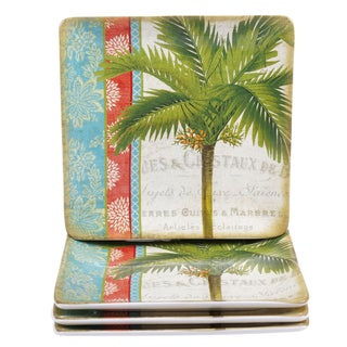 "Certified International Tropics 10.5"" Square Dinner Plates (Set of 4)"