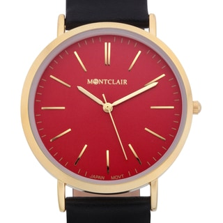 Montclair Women's Lachat Black Leather Ultra-thin Mirror Finished Ion-plated Goldtone Stainless Steel Watch