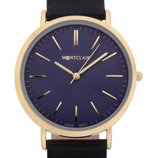 Montclair Women's Lachat Black Leather Ultra-thin Mirror Finished Ion-plated Stainless Steel Watch
