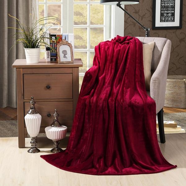 HS Velvet Plush Home Fleece Throw Blanket (50 inches x 60 inches)