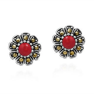 Structured Daisy Stone and Marcasite .925 Silver Earrings (Thailand)