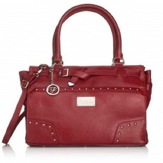 Erin Burgundy Leather Silvertone Hardware Handbag