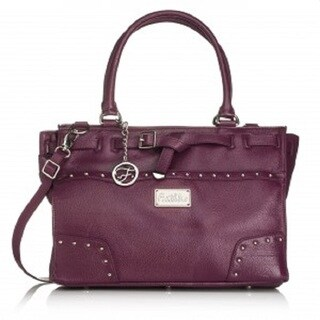 Erin Eggplant Leather Silvertone Hardware Handbag