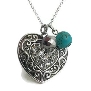 Mama Designs Handmade Heart and Faux Turquoise Charm Necklace