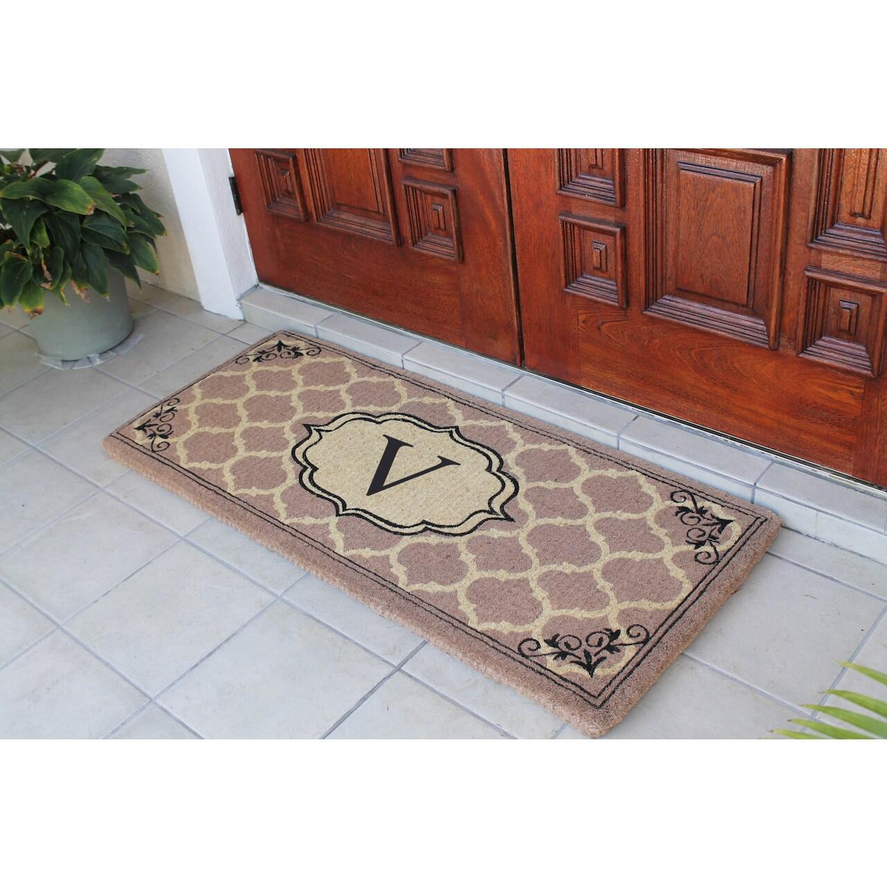 Gayle Ogee Monogrammed Handmade Entry Double Doormat 24 X 57 Overstock 11453597