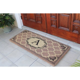 First Impression Gayle Ogee Monogrammed Handmade Entry Double Doormat by Artisans (2' x 4'9)