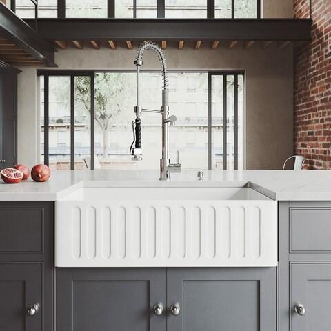 "VIGO All-In-One 33"" Matte Stone Farmhouse Kitchen Sink Set Zurich Faucet In Chrome, Strainer And Soap Dispenser"