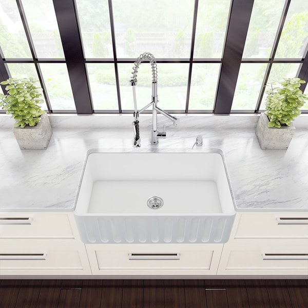 VIGO All-in-One 33-inch Matte Stone Farmhouse Kitchen Sink