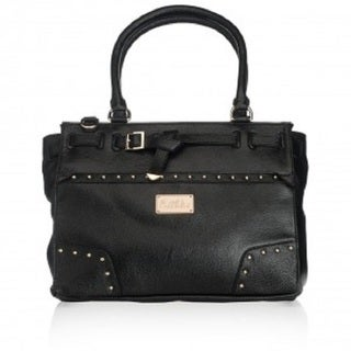 Erin Black Leather Goldtone Hardware Handbag