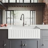 VIGO 33-inch Matte Stone Farmhouse Sink and Aylesbury Faucet Set