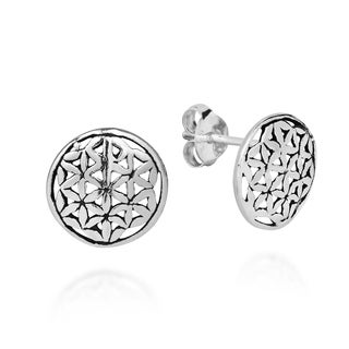 Handmade Interconnecting Lily Flower of Life .925 Silver Stud Earrings (Thailand)