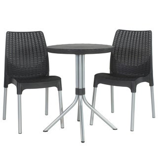 Keter Chelsea 3-piece Outdoor Graphite Dining Table and Chairs Furniture Set