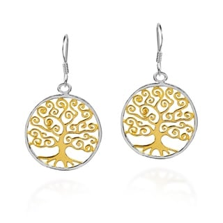 The Tree of Life Two Tone Gold over .925 Silver Earrings (Thailand)