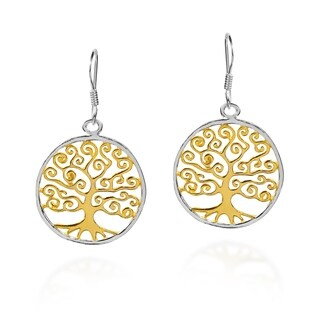 Handmade The Tree of Life Gold over .925 Silver Earrings (Thailand)