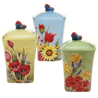 Certified International Floral Bouquet 3 pc Canister Set